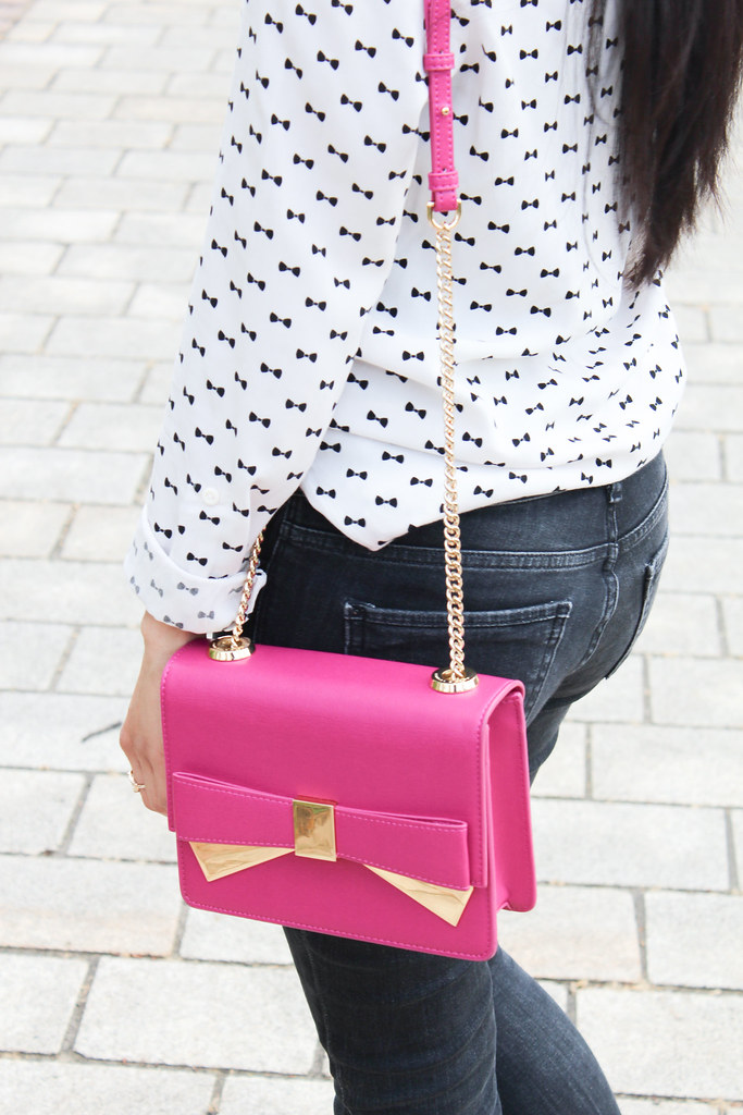 Charles Keith pink bow bag