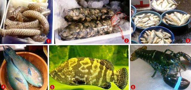 小潘一家人點的海鮮種類。1.吳郭魚皮、2.蚵仔、3.黃魚、4.青衣魚、5.石斑、6.波士頓龍蝦。圖片來源:白尚儒。