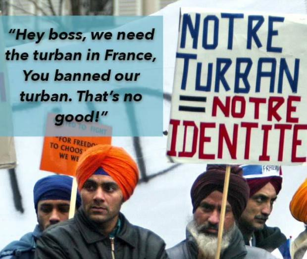 No ban on Sikh turbans in public spaces in France, only Muslim's skirt ban