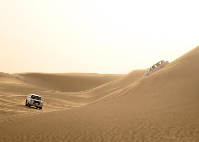 Atardecer en el desierto con los 4x4