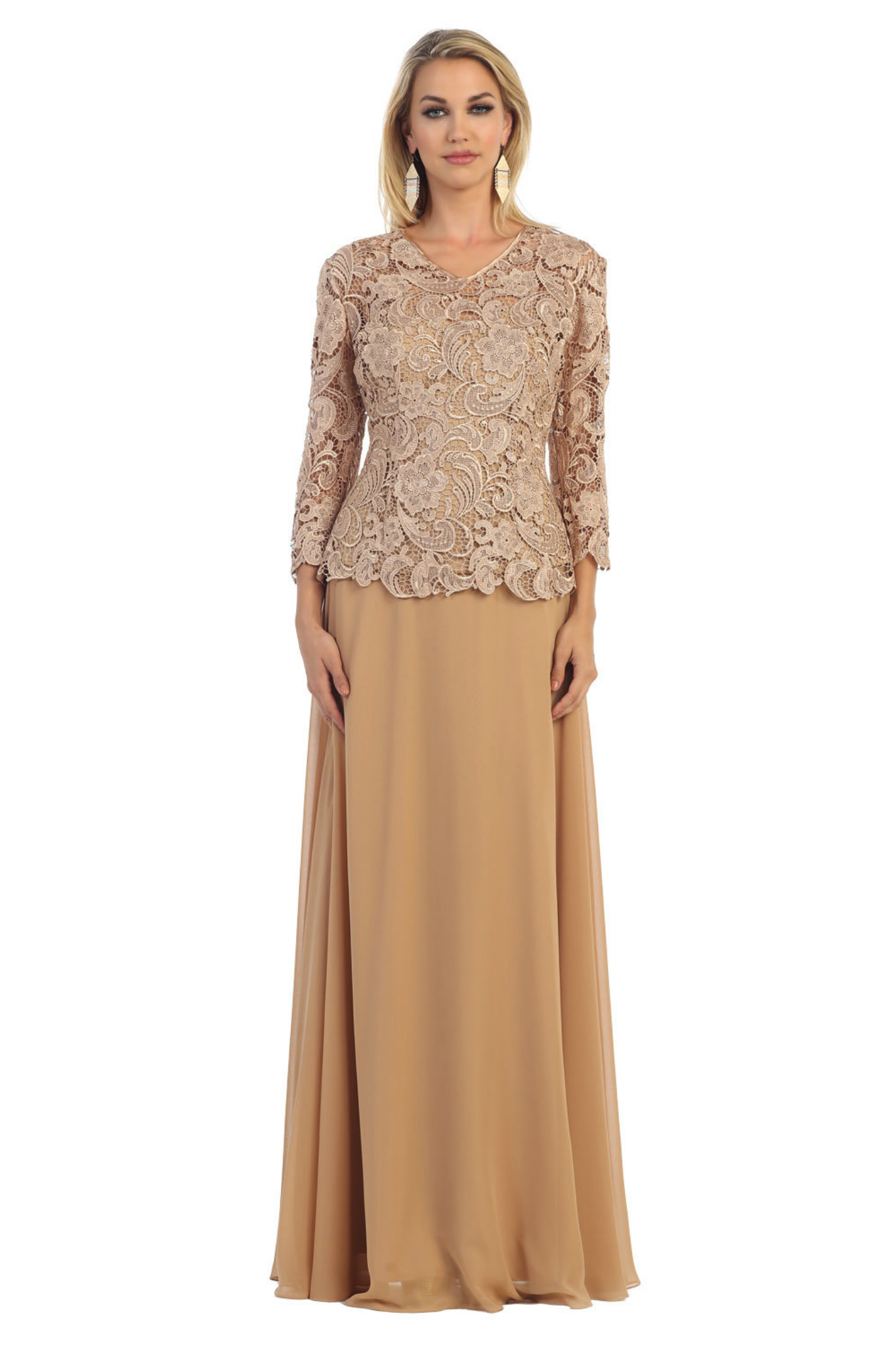 Modest Mother Of The Bride Quarter Sleeve Lace Chiffon