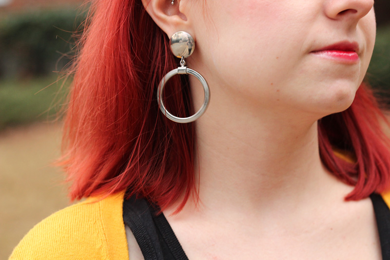 Silver Hoop Earrings with Red Hair