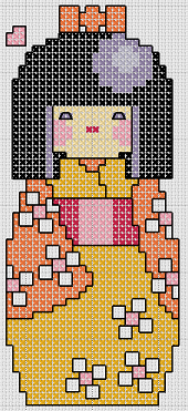 Preview of Free Cross Stitch Patterns: Japanese Kokeshi Doll