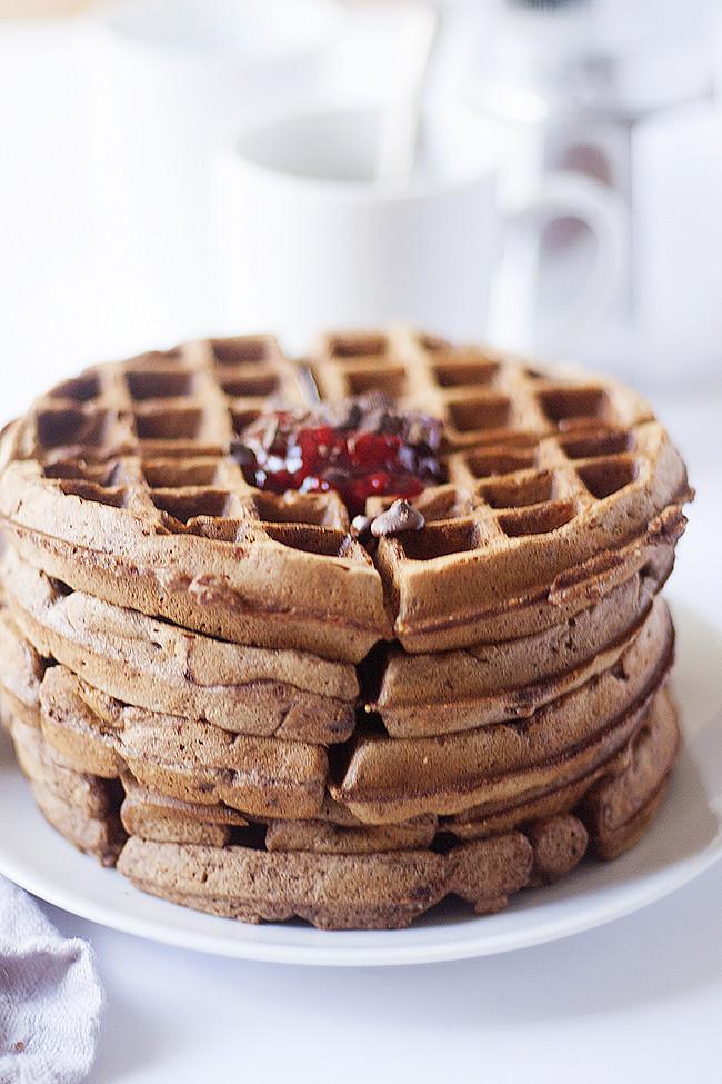 Hazelnut Chocolate Waffles with Raspberry Sauce on top = heaven ...