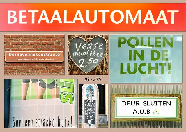 Holländisch Niederländisch für Anfänger Verse Muntthee - Frischer Minztee / Snel een strakke buik ! - Schnell einen straffen Bauch! / Deer sluiten, A.U.B. (alstublieft - wenn es Ihnen beliebt) = Türe schließen, bitte. Foto Fotocollage Brigitte Stolle April 2016