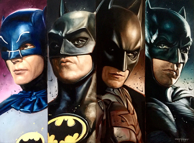 Batman Adam West, Michael Keaton, Christian Bale and Ben Affleck by Ben Jeffery