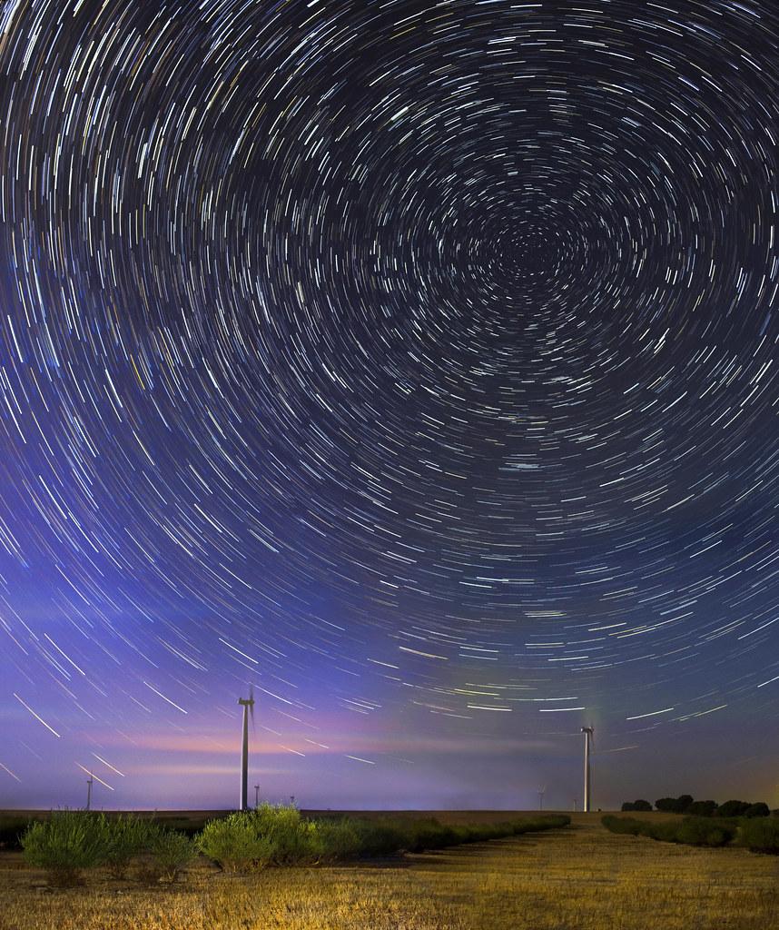 Emu Downs Wind Farm Star Trails Panorama