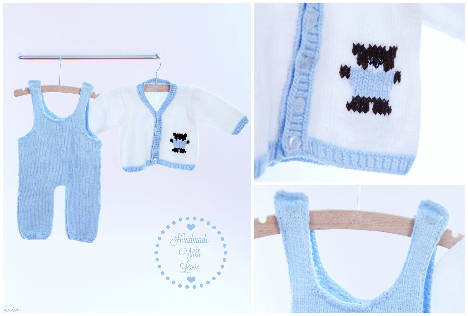 Baby boy white pale blue outfit handmade knitted diy craft teddy bear cardigan overall cute adorable with love home made knitting stitching sewing embroidery embellishment
