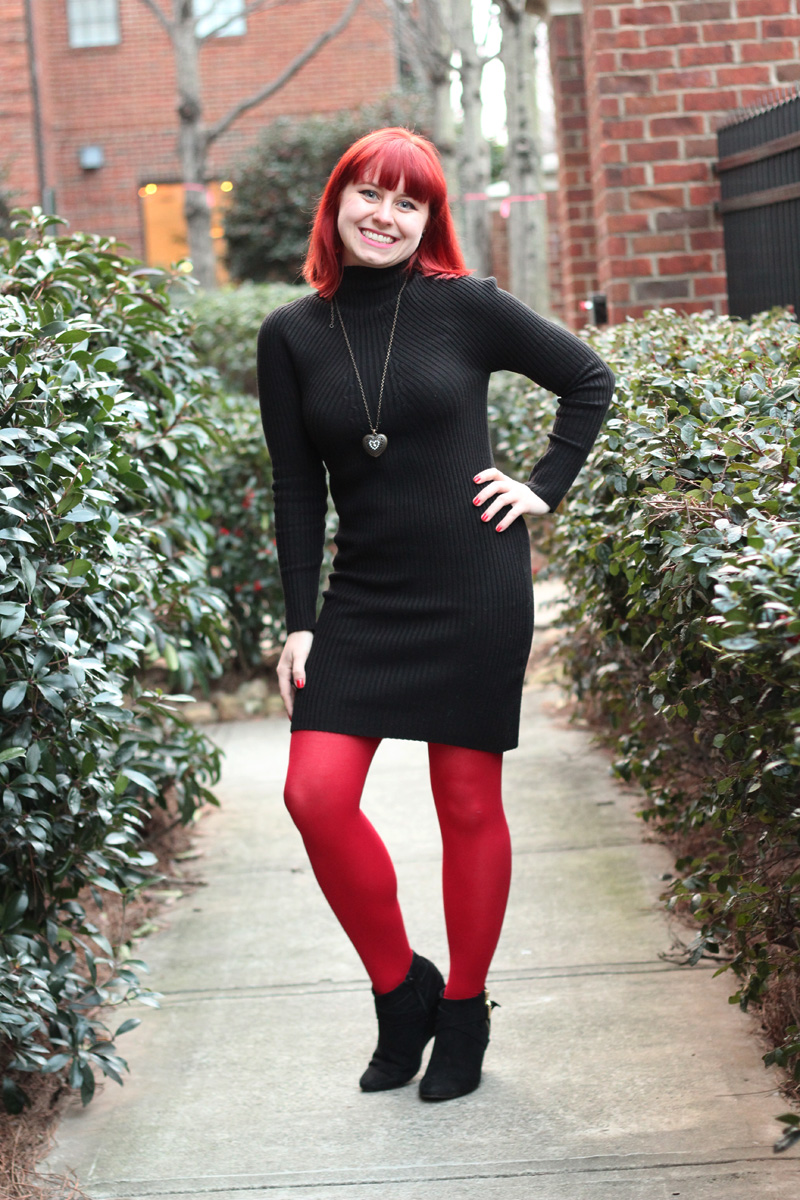 Valentine Outfit: Bodycon Mock Turtleneck Sweater Dress with Red Tights