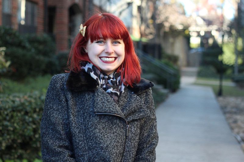 Bright Red Hair, Gray Coat with a Faux Fur Collar, and Leopard Print Circle Scarf
