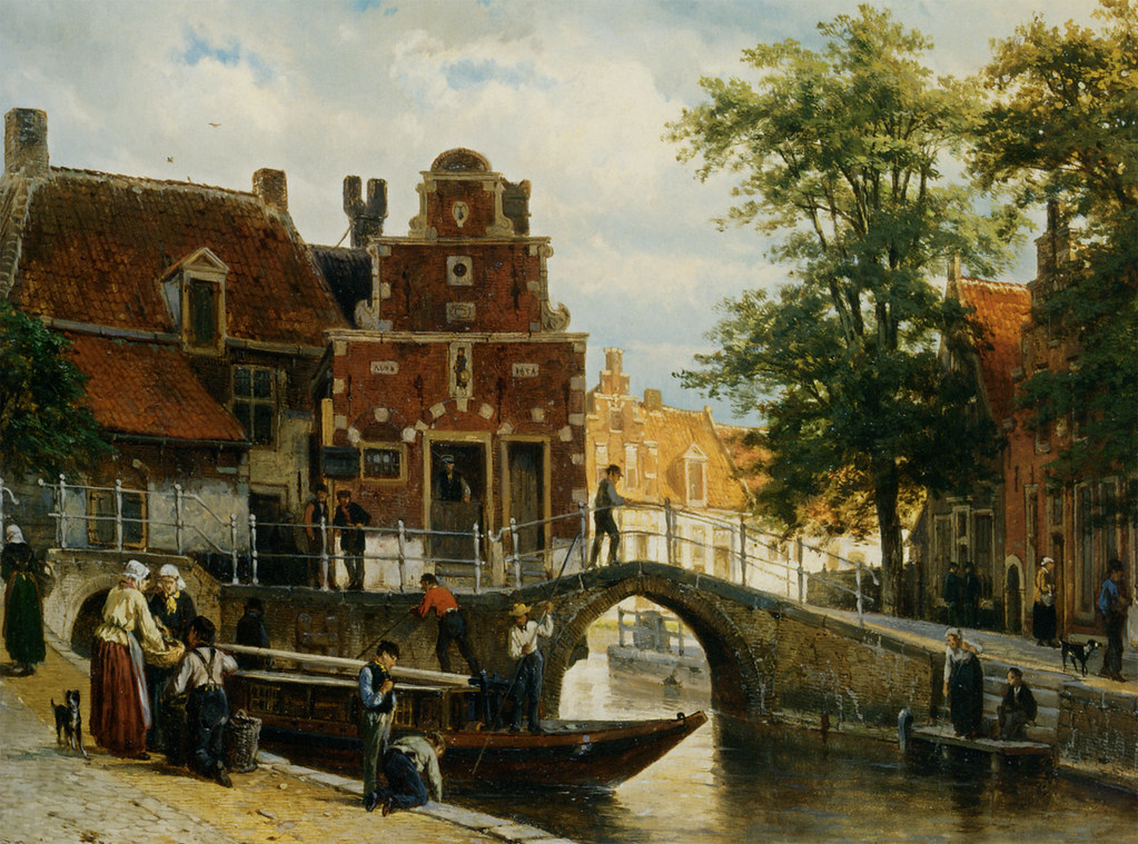 A View of Franeker with the Zakkend Ragerschuisje by Cornelis Springer