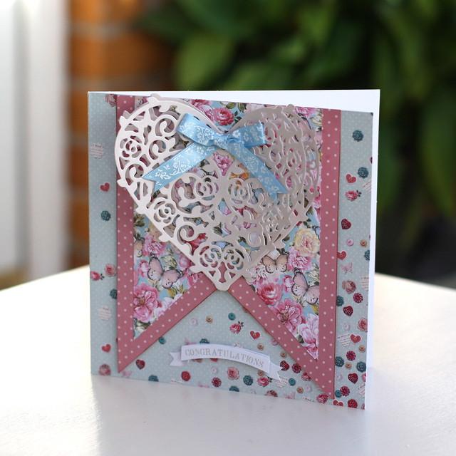 Bellissima die cut heart card by StickerKitten