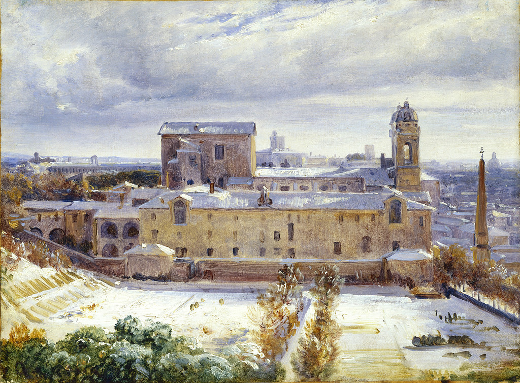 Santa Trinità dei Monti in the Snow by Andre Giroux - c.1830 (Rome, Italy)