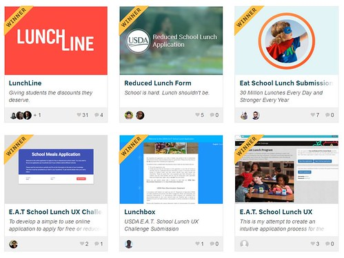 Winning submissions of the E.A.T. School Lunch U.X. Challenge featured on contest website