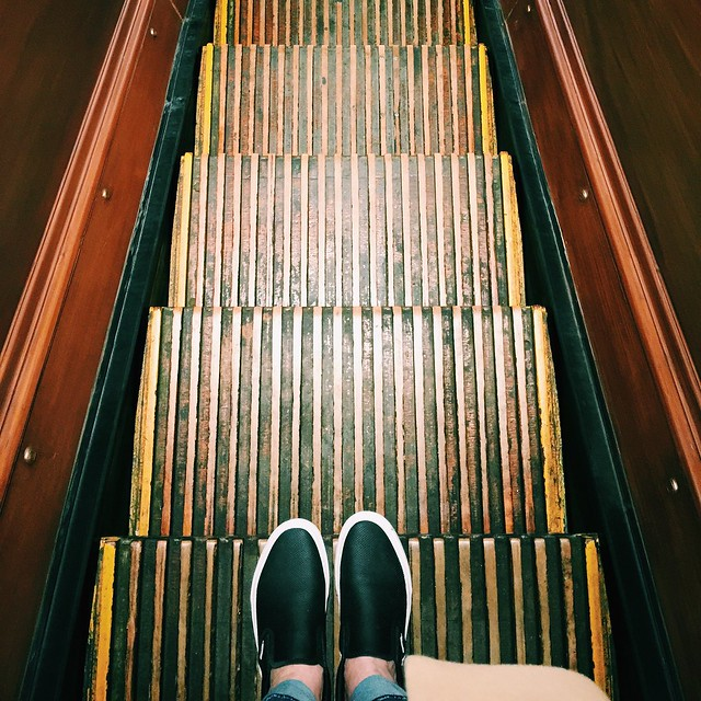 The original wooden escalators at Macy's Herald Square NYC