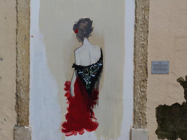 Graffiti de Maria Severa en el barrio de Mouraria (Lisboa)