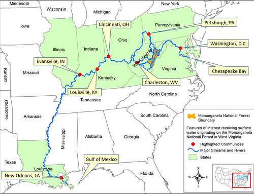 Graphic showing the streamflow from the Monongahela National Forest to the Gulf of Mexico