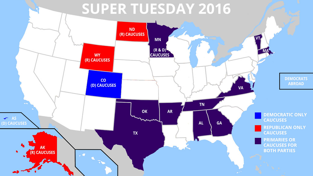Map of Super Tuesday States 2016 | States participating in ...