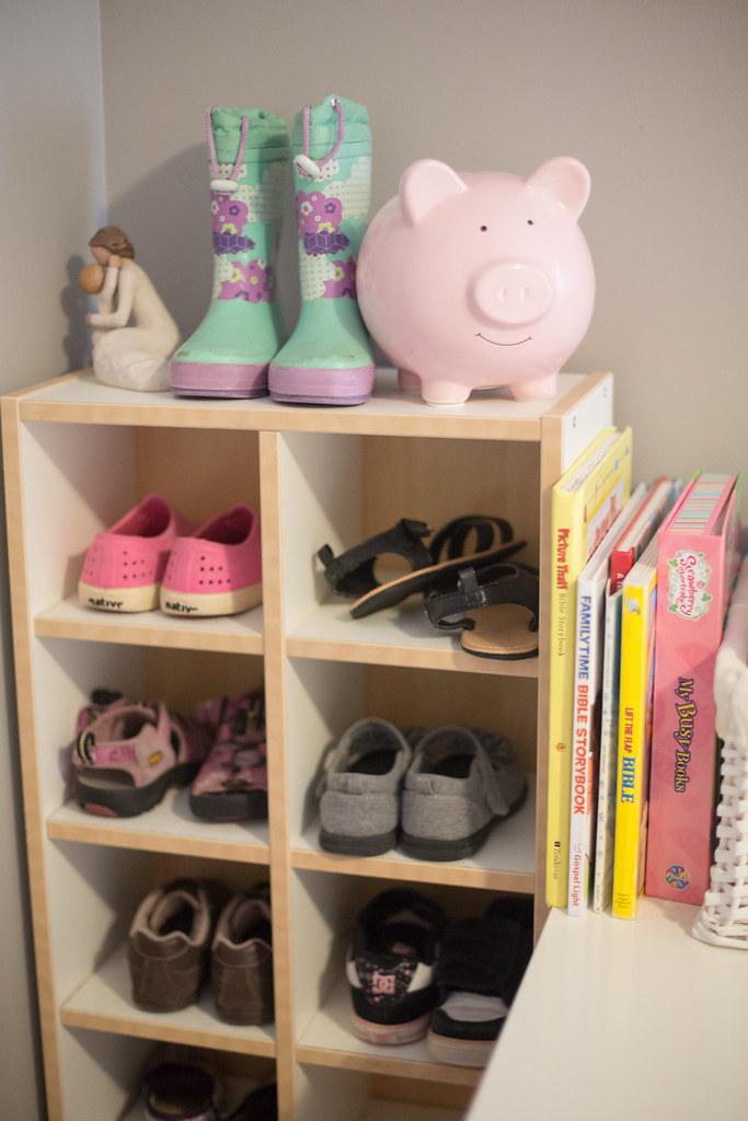 CD rack used as shoe rack for kids