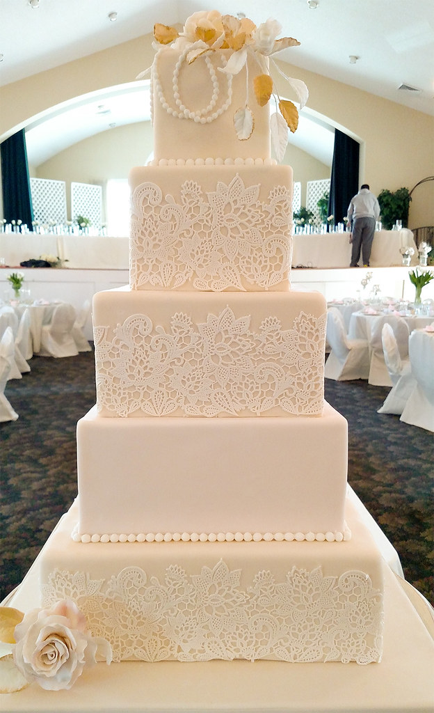 square white wedding cakes a five tier square wedding cake this ivory white and 20440