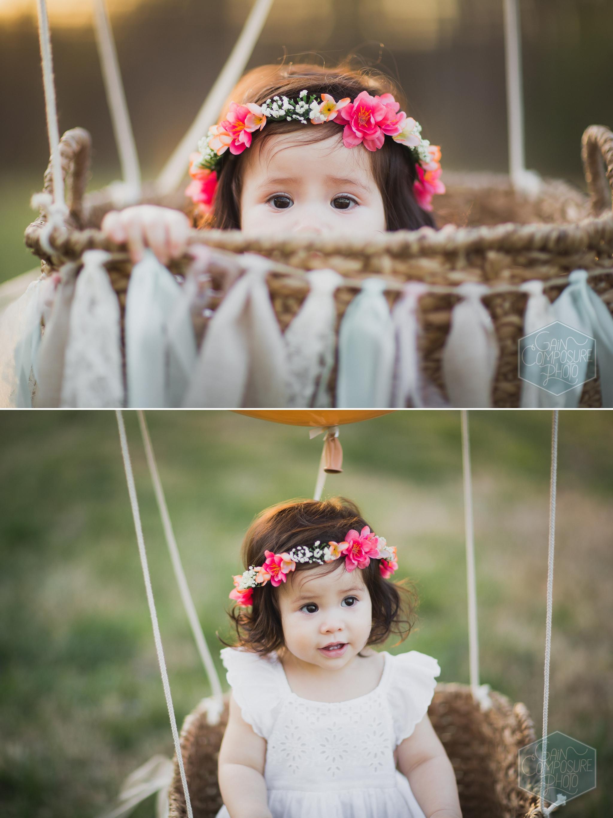 vintage inspired little girl portraits wearing flower crown in greensboro north carolina
