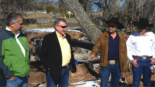 Xavier Montoya, State Conservationist for NRCS New Mexico (left) and Mark Rose (center left), NRCS director of financial assistance programs manager, Kenneth Salazar (center right) and others