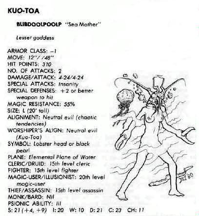 Blibdoolpoolp from ADnD 1st Deities and Demigods