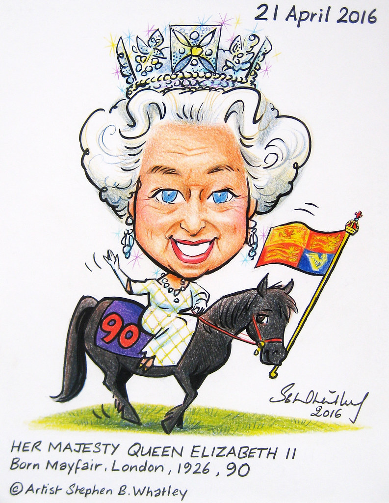 HM The Queen at 90 - Cartoon Tribute 2016 by Stephen B. Wh ...