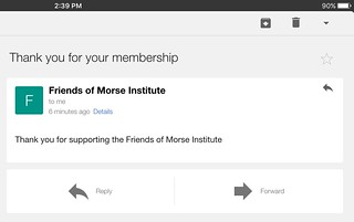 Thank you email from Friends of Morse Institute Library