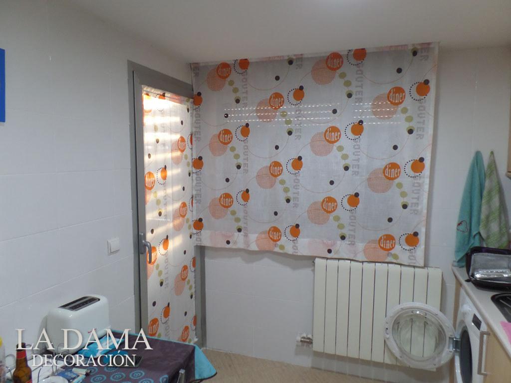 Visillo y estor naranja para cocina cortinas para cocina for Cortinas naranjas