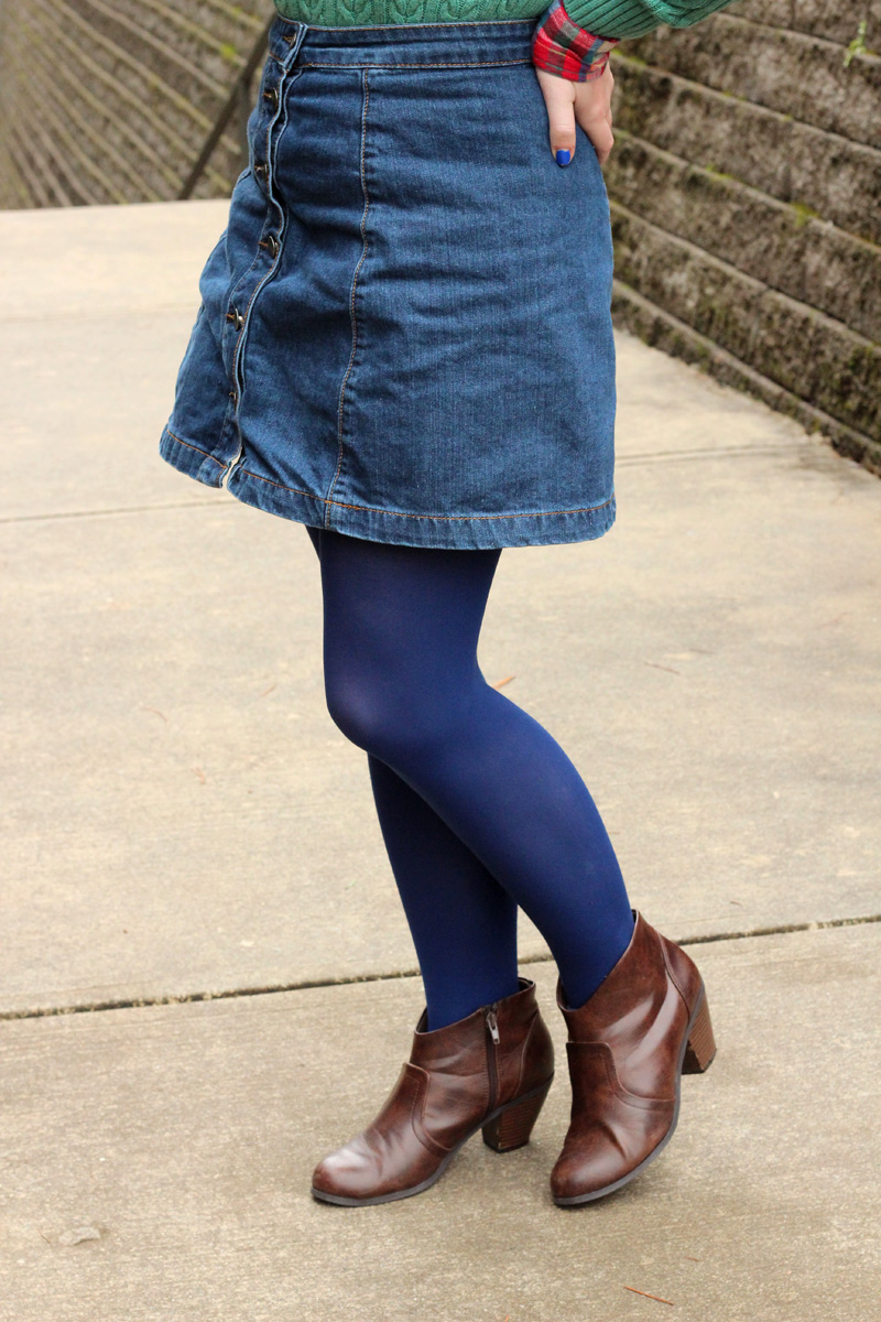 ASOS Denim Skirt with Navy Blue Tights and Western Style Ankle Boots