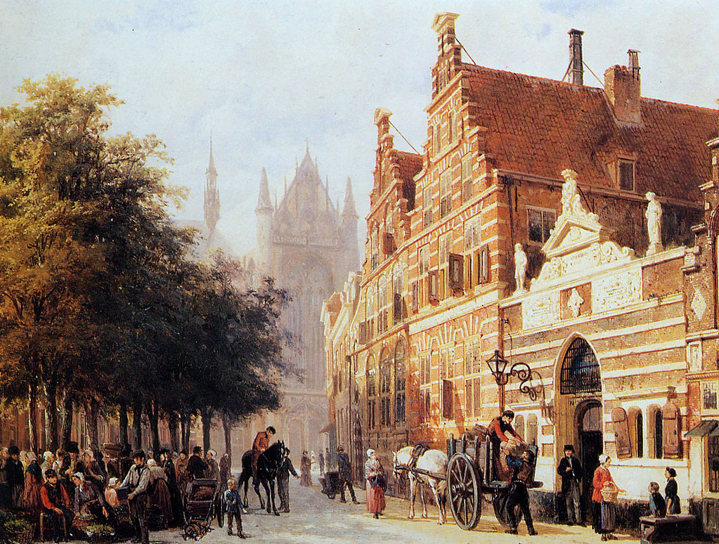 The Orphanage On The Hooglandse Kerkgracht, Leiden by Cornelis Springer
