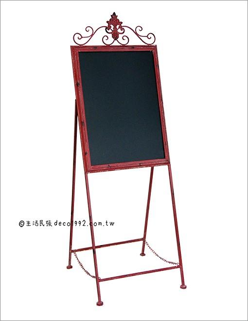 (补货中) 店面黑板告示牌— 美式复古仿旧红色锻铁黑板告示牌 留言板