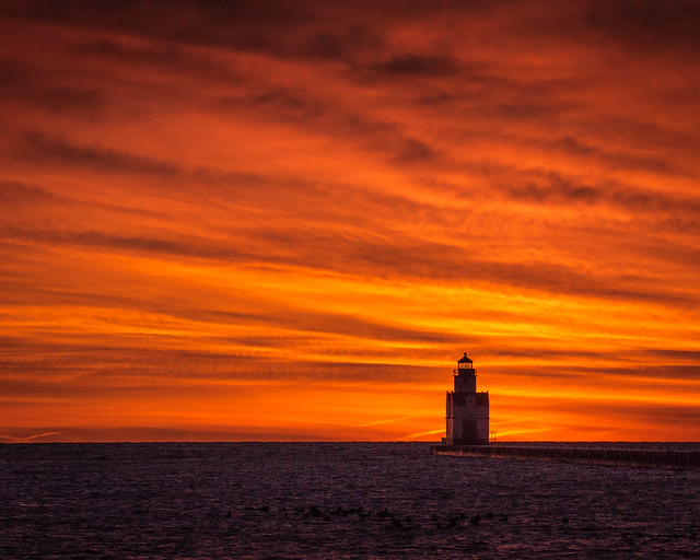 Sunrise, Sunset, Lighthouse, Orange, Clouds, Lake Michigan