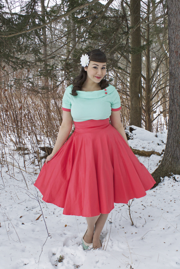 mint and coral dress
