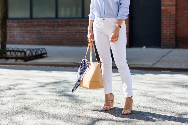 vwhat to wear in the spring white denim dl1961 your favorite blue button down nude heels steve madden j.crew tote nude tote henri bendel sunglasses spring outfits that you'll love white jeans denim casual style weekend outfits