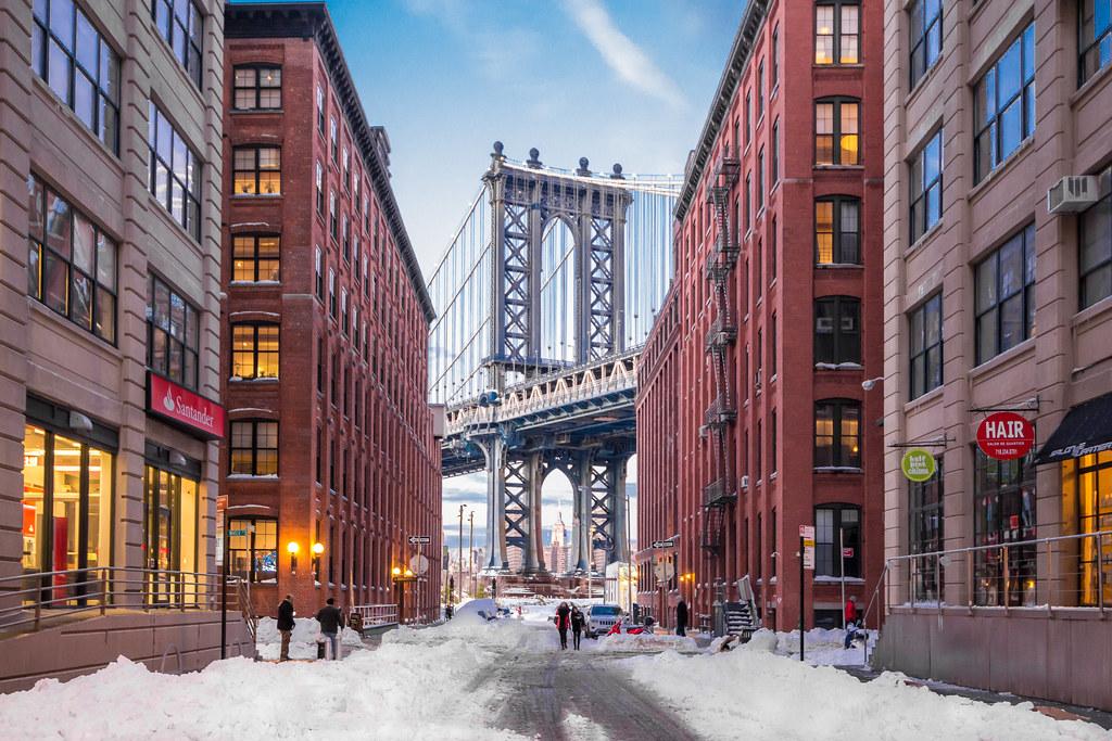 Washington Street DUMBO Brooklyn New York Winter Scene