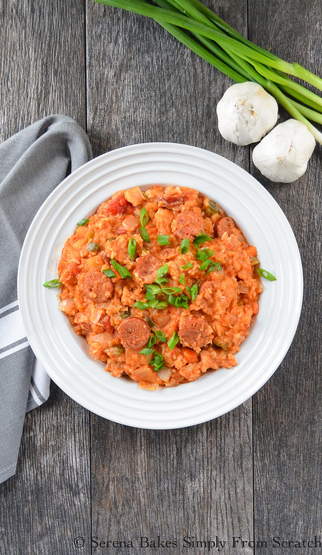Crock Pot Chicken and Sausage Jambalaya is an easy to make fix it and forget it dinner. serenabakessimplyfromscratch.com