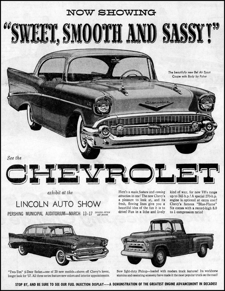 Vintage Newspaper Advertising For The 1957 Chevrolet Autom