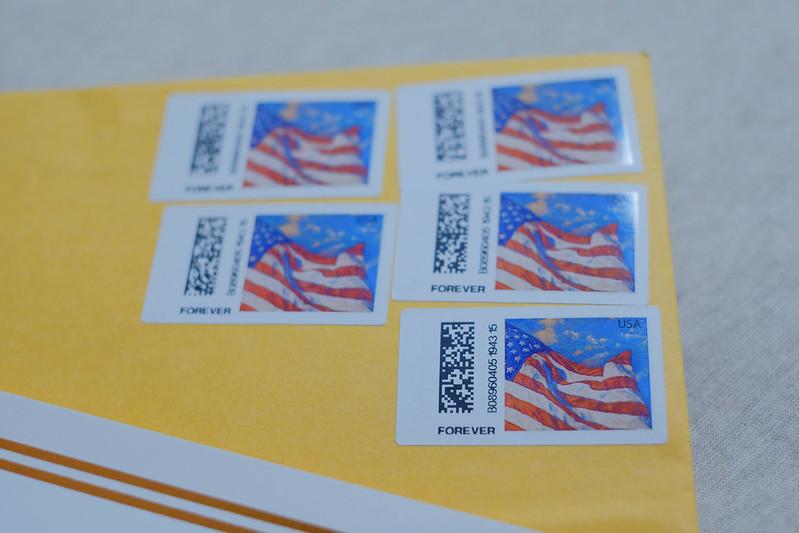 封筒内切手の部分の拡大写真