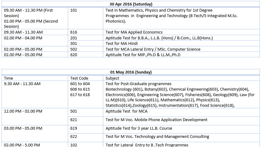 CUSAT CAT Schedule