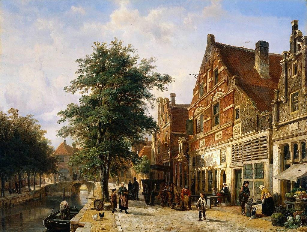 Zuiderhavendijk, Enkhuizen by Cornelis Springer, 1868