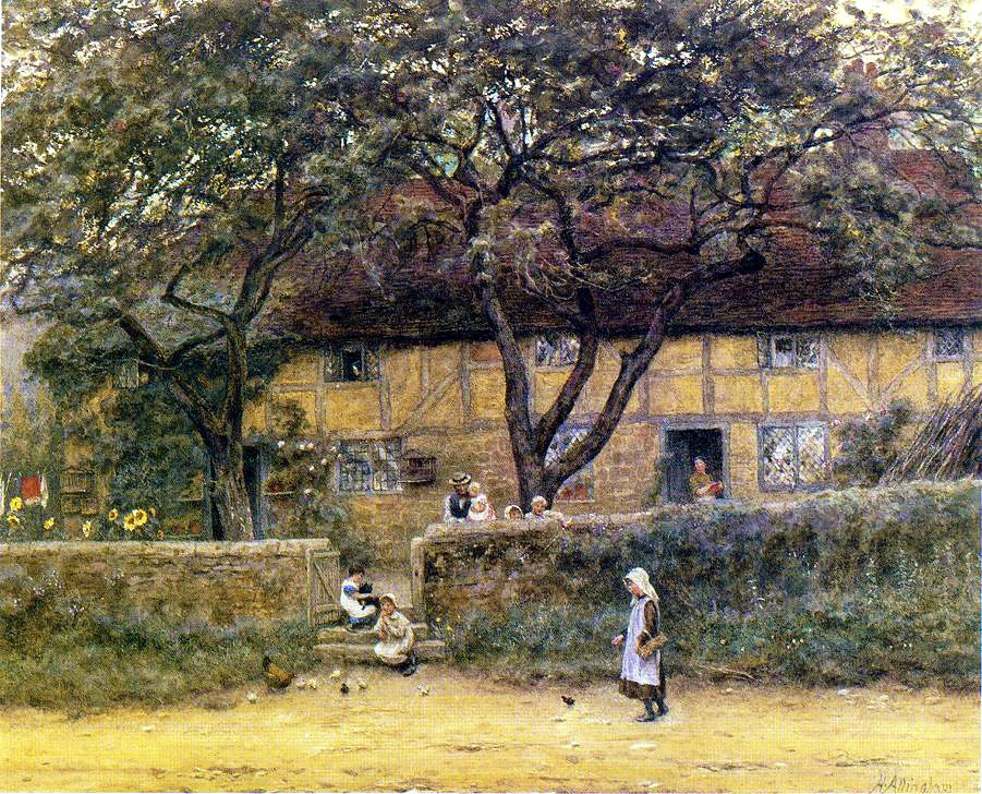 Children Outside a Cottage by Helen Allingham