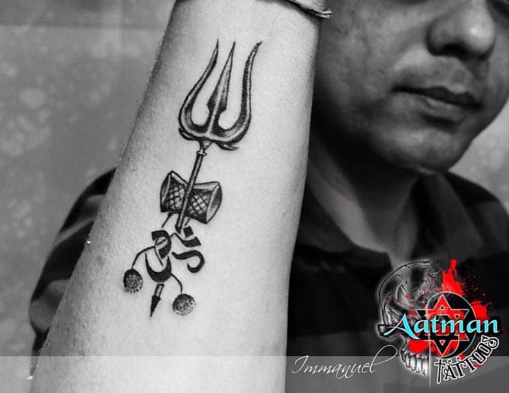 Trishul custom Tattoo By Immanuel @ Aatman Tattoos Bangalo ... 3d Trishul Tattoo