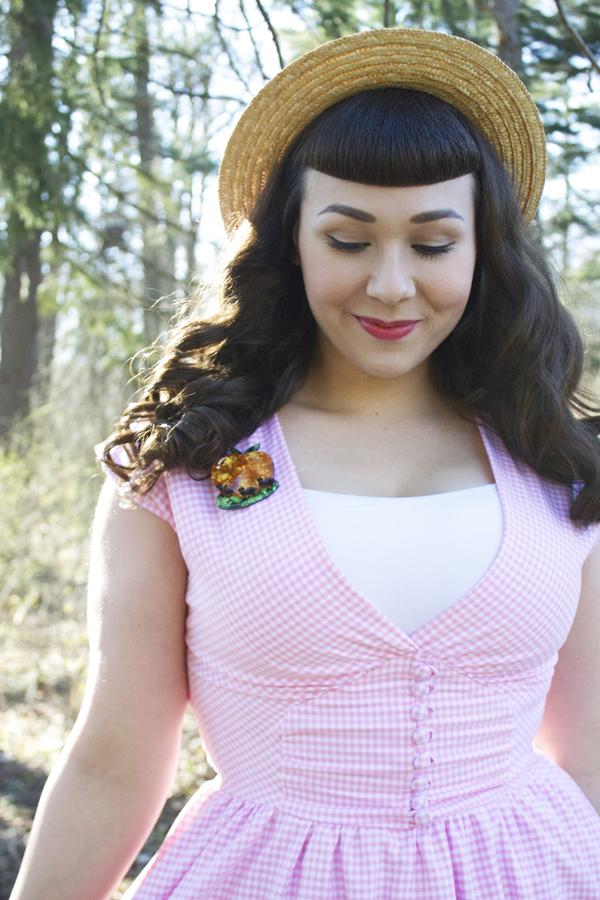 retro pink dress