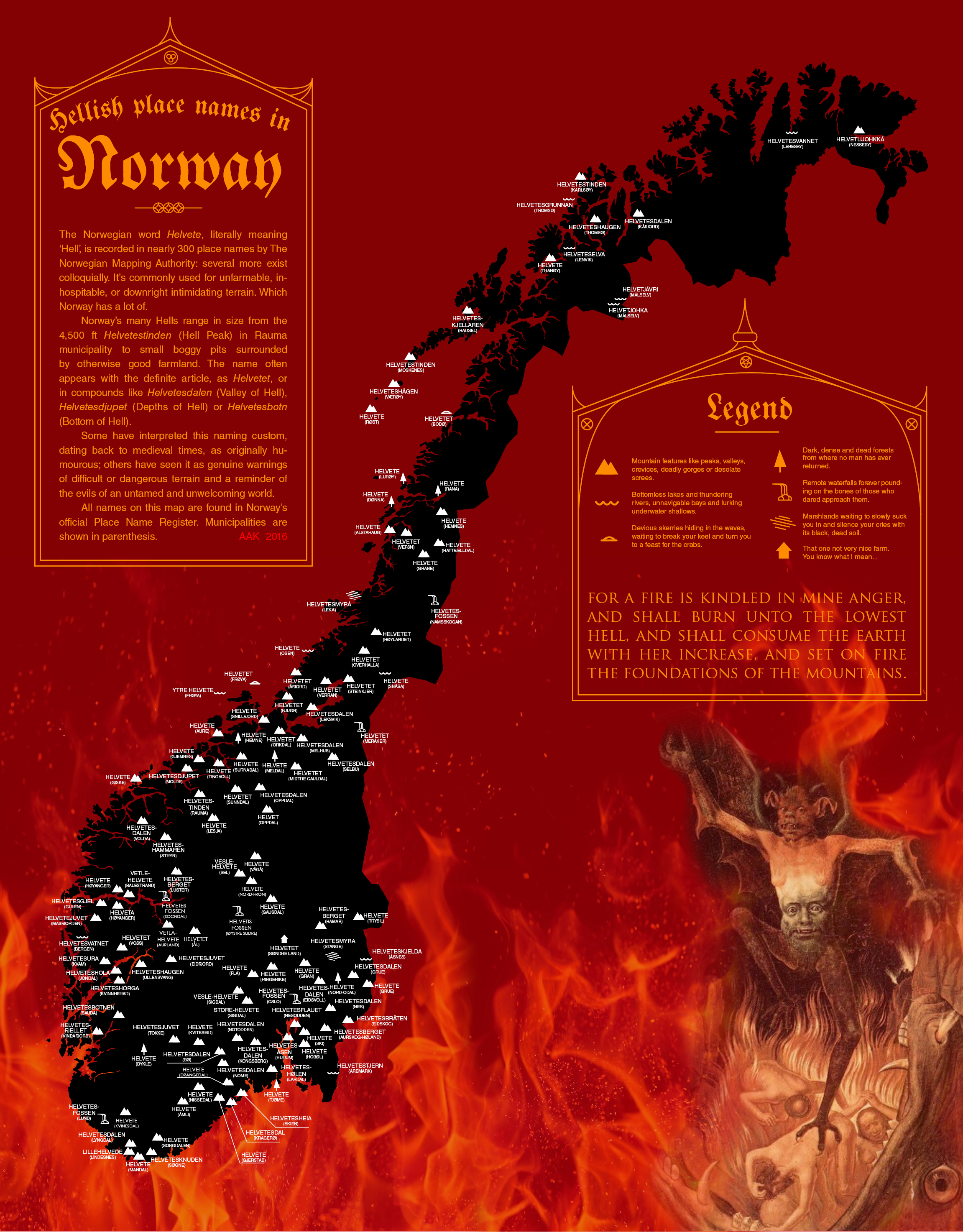 Places In Norway Literally Named After Hell Brilliant Maps - Norway map poster