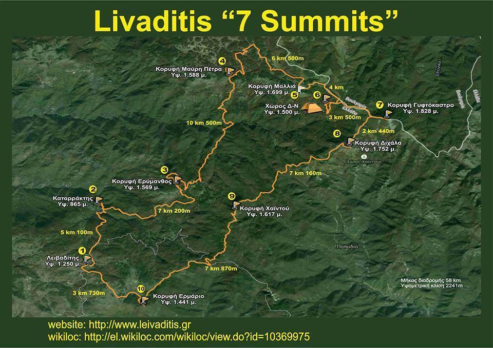 Η διαδρομή του Livaditis 7 Summits