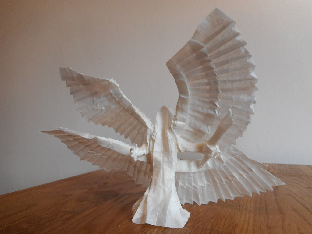origami 4winged angel designed by me box pleated