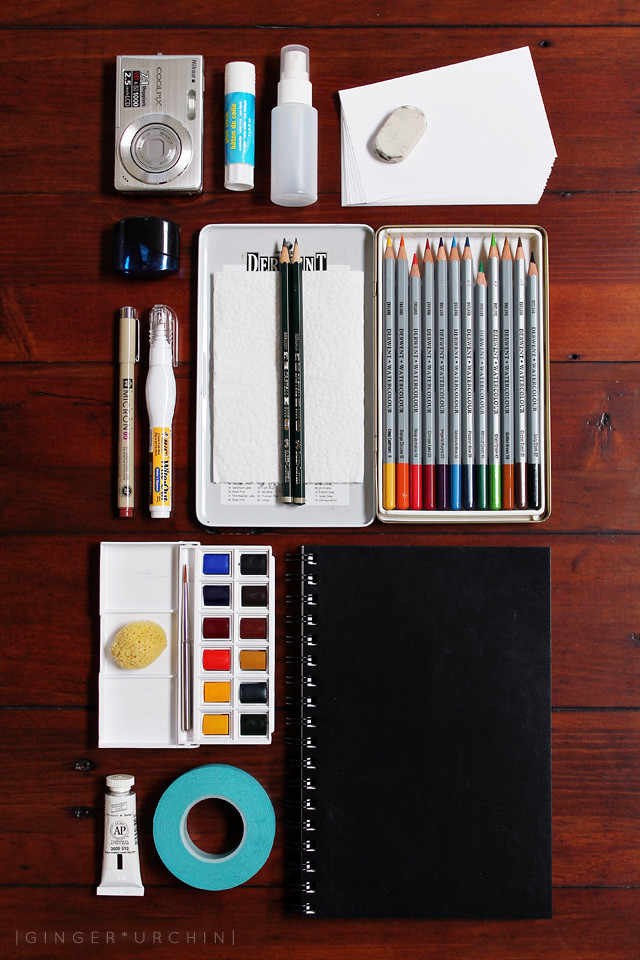 flatlay of art supplies
