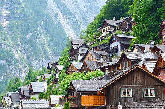 Wooden houses tucked into the hillside, Hallstatt, Austria